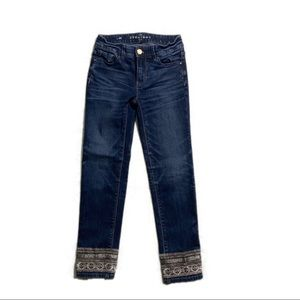 WHBM Straight Crop Jeans w Gold Detailing, Size 00